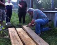 volunteers building similar boardwalk