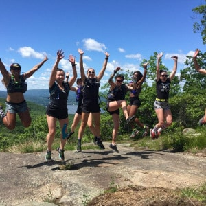National Trails Day participants celebrating on a hike and trail run.