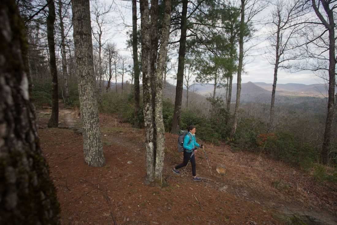 Jennifer Pharr Davis hikes on single track trail