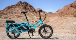 Electric Bicycle resting on the kickstand in the Nevada desert