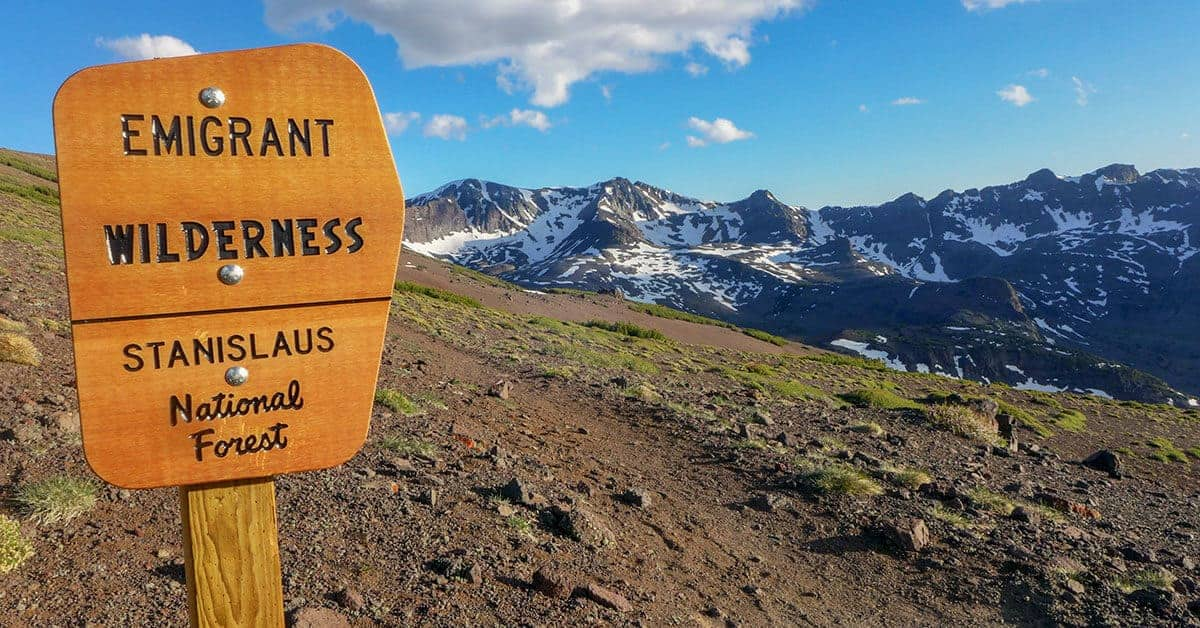 Wilderness Boundary sign for the Emigrant Wilderness Area