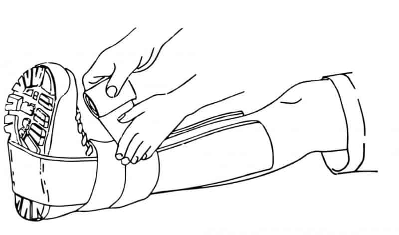 diagram drawing showing how to splint and wrap a sprained ankle.