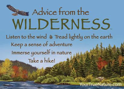 Advice from the Wilderness Magnet. Listen to the wind, tread lightly on the earth, keep a sense of adventure, immerse yourself in nature, take a hike!