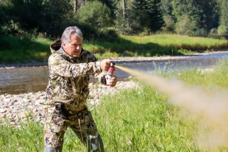 Man discharges bear spray