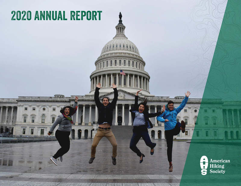2020 Annual Report Cover with NextGen Trail Leaders jumping in front of the US Capitol